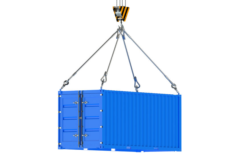 43158610 - crane hook and blue cargo container isolated on white background