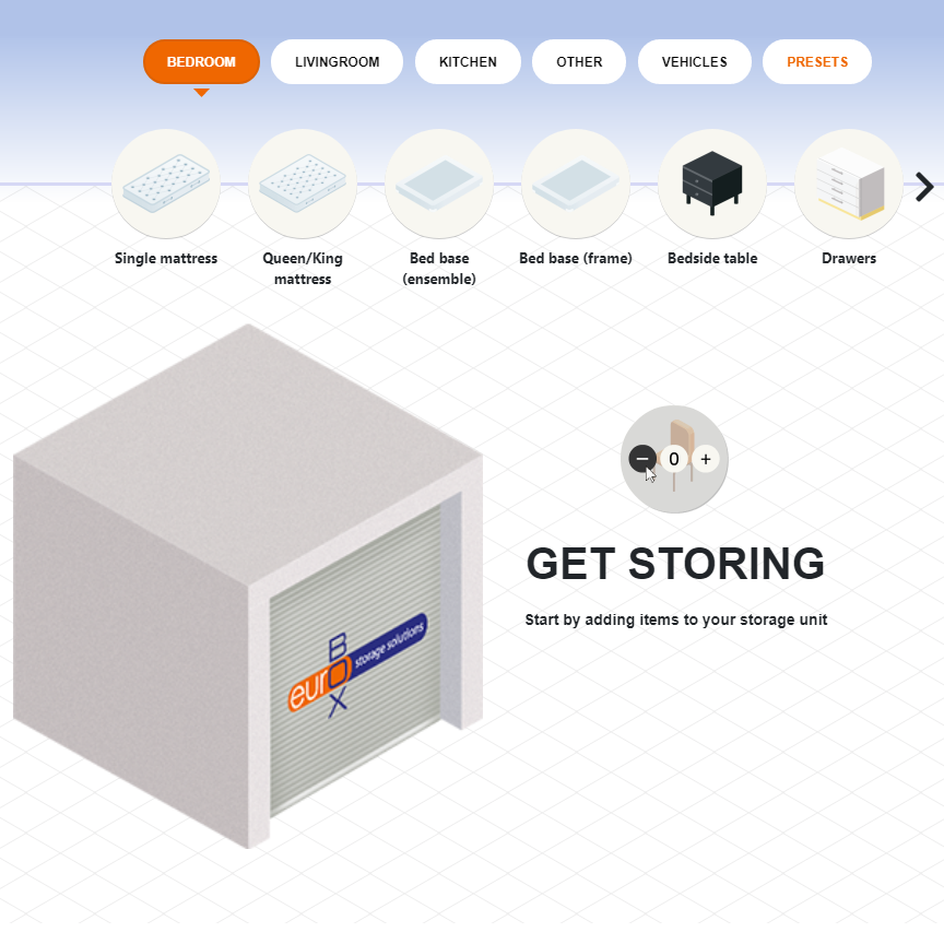 Calculate your self-storage requirements online with our interactive storage calculator